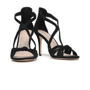 SANDRO WOMAN ELISA KNOTTED SUEDE SANDALS BLACK